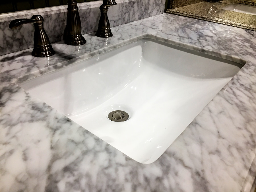 Sink in bathroom, vanity bath sink with marble counter, under mount bathroom porcelain sink, rectangular bathroom sink with faucet,
