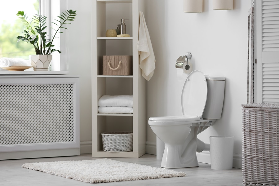 New ceramic toilet bowl in modern bathroom interior