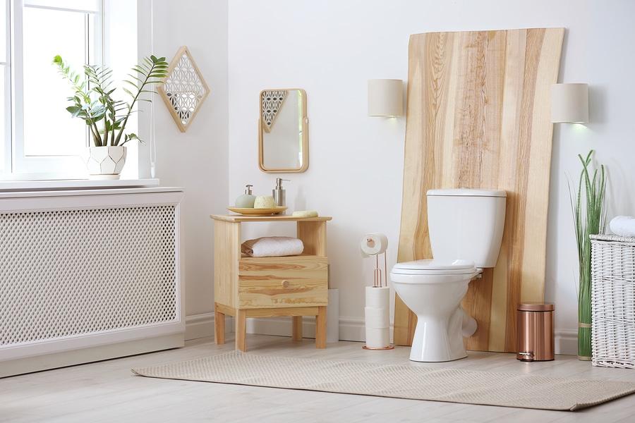 Bathroom interior with new ceramic toilet bowl